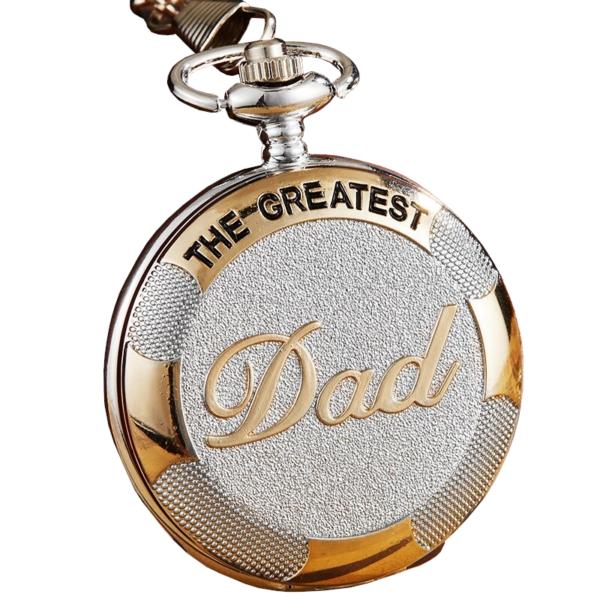 'The greatest Dad' (a legnagyszerűbb apa) zsebóra lánccal, sárga arany színű díszítéssel