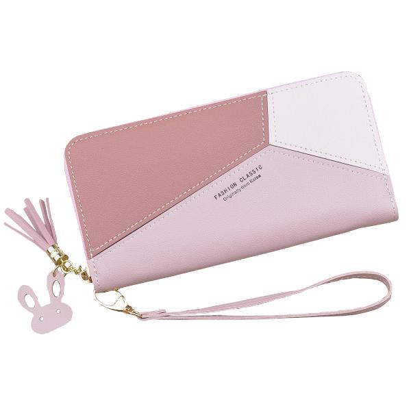 Divatos geometrikus mintás női pénztárca, pink