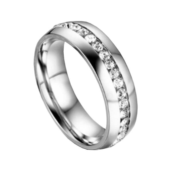 Egysoros nemesacél kövekkel kirakott gyűrű több méretben