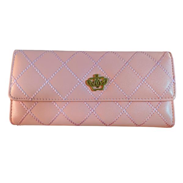 Maria King pink varrás mintás pénztárca korona motívummal