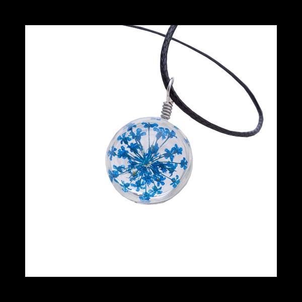 Üvegbe zárt kék virág medálos nyaklánc