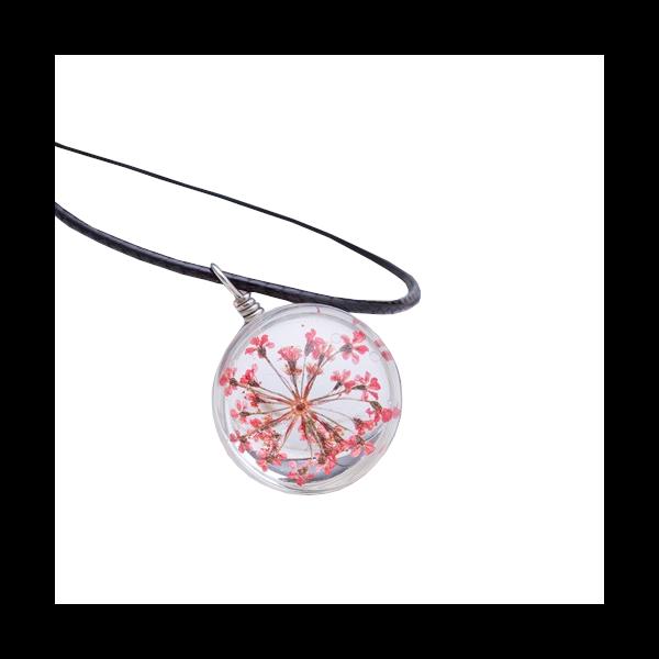 Üvegbe zárt pink virág medálos nyaklánc