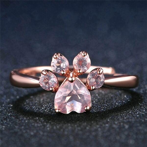 JOYME rose gold gyűrű tappancs formájú pink kristály dísszel - állítható méret