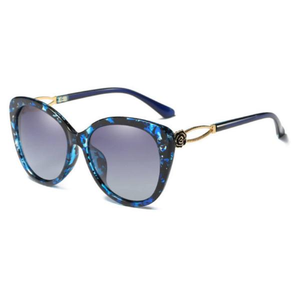 kék mintás keretes macskaszem női napszemüveg,