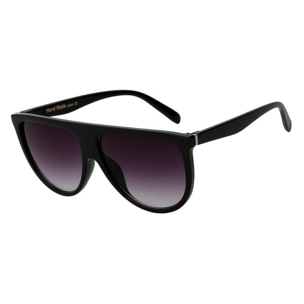 Nagylencsés retro női napszemüveg, fekete