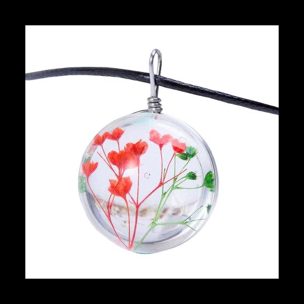 Üvegbe zárt piros és zöld virág medál bőr nyaklánccal