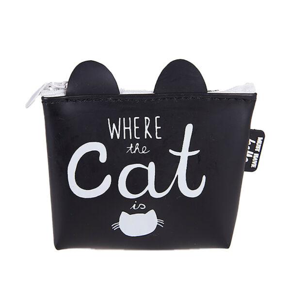 Fekete 'Where the cat is' cicás pénztárca