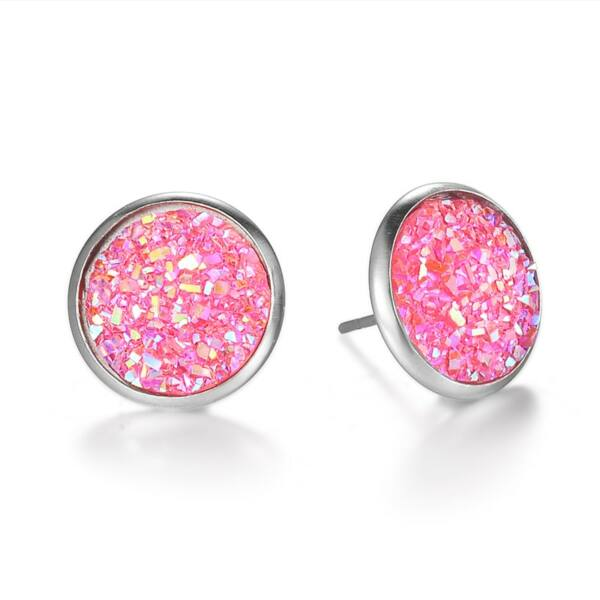 Nemesacél fülbevaló kristályokkal kirakva, pink - 1,4 cm