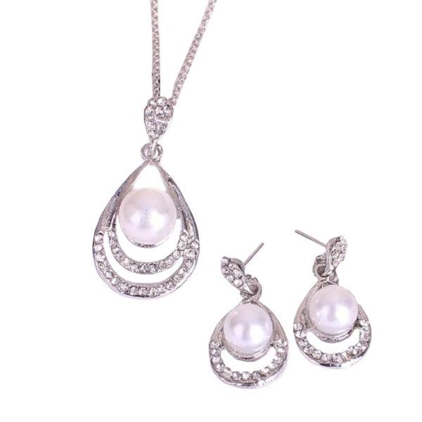 Maria King mesterséges gyöngy és kristály nyaklánc és fülbevaló szett