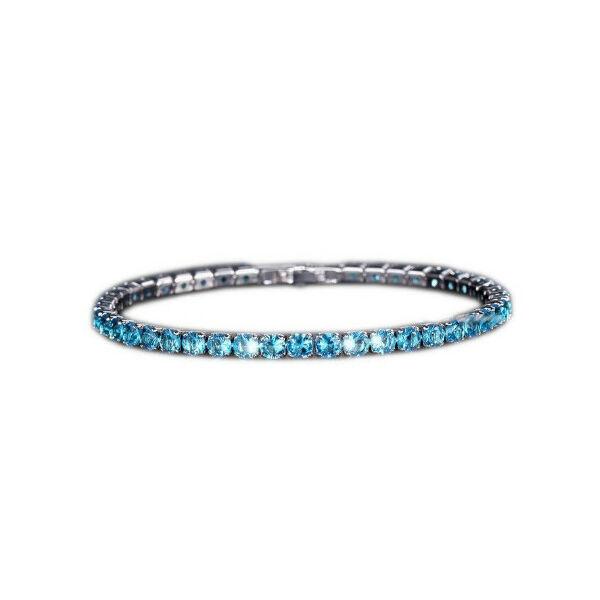 Kék akvamarin cirkónium köves teniszkarkötő, 17 cm