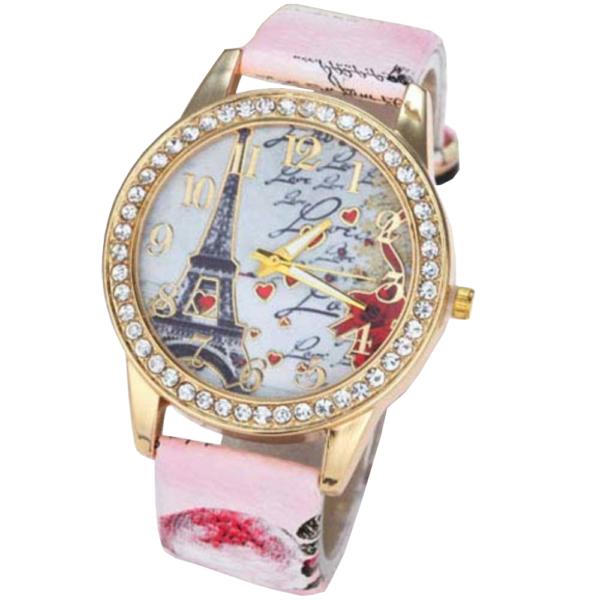 Divatos női óra Eiffel torony mintával, kövekkel - világos rózsaszín