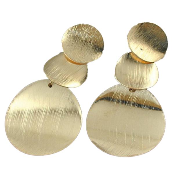 Divatos arany színű lapos körökből álló fülbevaló