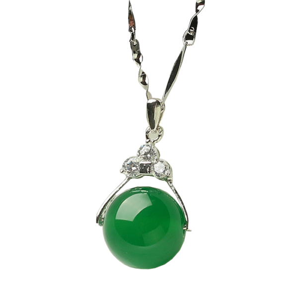From Maria King ezüstözött nyaklánc agate köves medállal - zöld