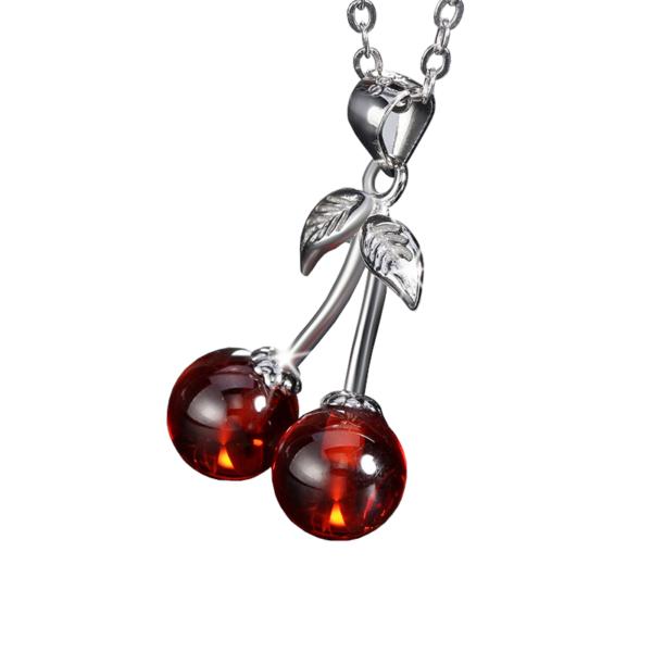 925 Sterling ezüst (valódi) cseresznye nyaklánc