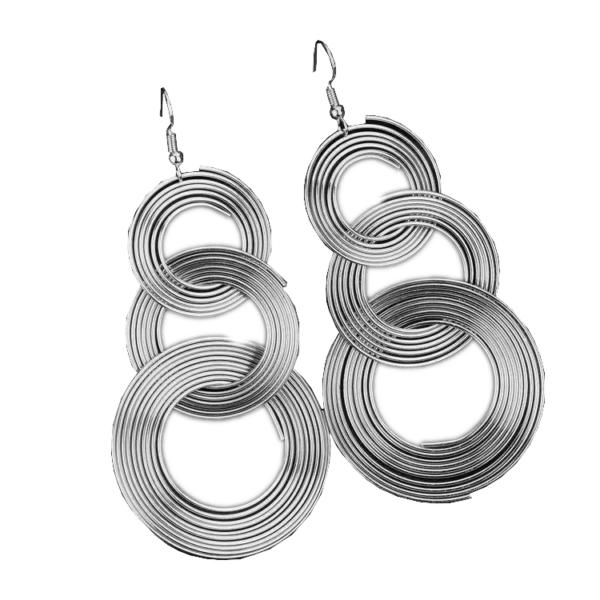 Feltűnő, divatos hosszú karika fülbevaló - ezüst színű