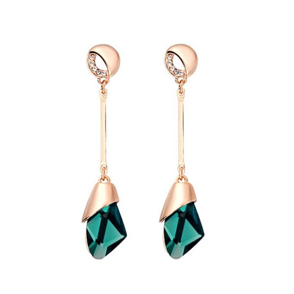 From Maria King Geometrikus zöld kristályos látványos fülbevaló
