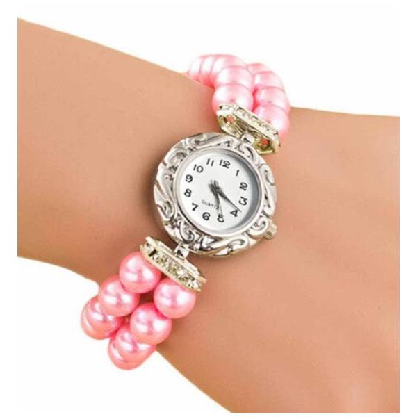 Gyöngyház rózsaszín gyöngyös szíjas óra