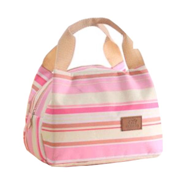 Színes, csíkos hőtartó táska (kis méret)