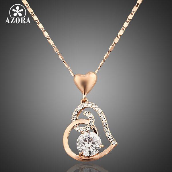 Gyönyörű szív motívumos, aranyozott rose gold medál nyaklánccal