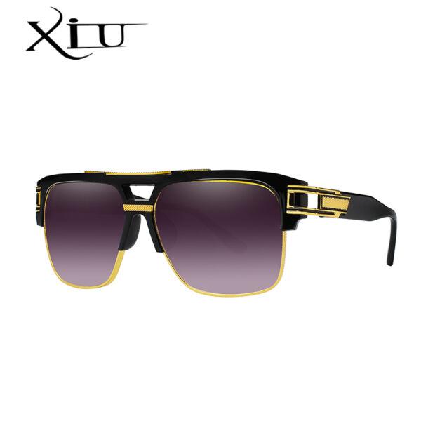 Retro uniszex feltűnő napszemüveg, fekete-arany kerettel