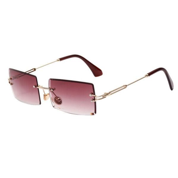 Szögletes színátmentes akril lencsés, keret nélküli napszemüveg, lila