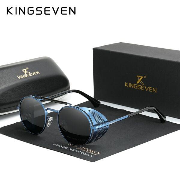 extravagáns polarizált napszemüveg oldalt napellenzővel, kék