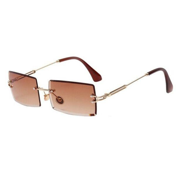 Szögletes színátmentes akril lencsés, keret nélküli napszemüveg, barna
