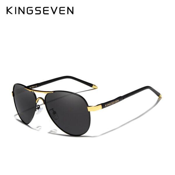 KINGSEVEN vintage pilóta napszemüveg, polarizált lencse, arany-fekete kerettel