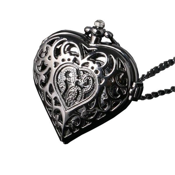 Szív alakú fekete zsebóra lánccal, nemesacél
