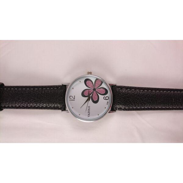 YAZOLE rózsaszín csillogó virágos számlapos karóra, fekete szíjjal