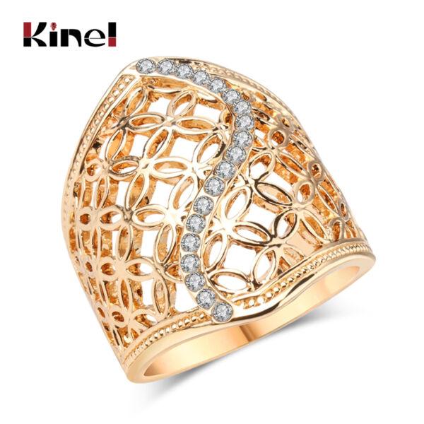 Vintage tibeti ezüst ötvözet és kristály gyűrű, arany színben, több méret