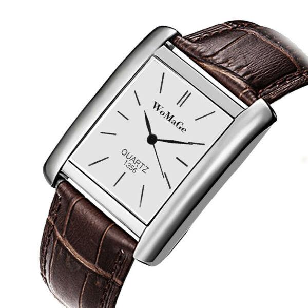WoMaGe divatos, barna bőrszíjas uniszex karóra ezüst óratokkal