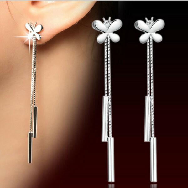 From Maria King Ezüstözött elegáns pillangós függő fülbevaló