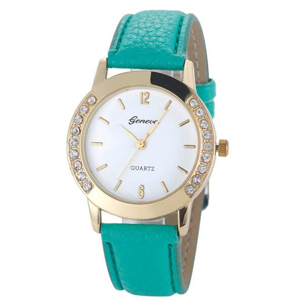 Geneva apró kristályos óra, zöld szíjjal