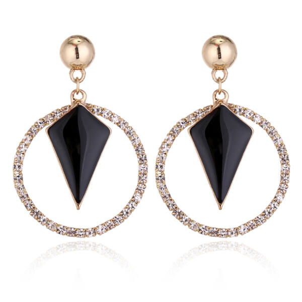 Maria King Trendi geometrikus fülbevaló kristályokkal, fekete-arany