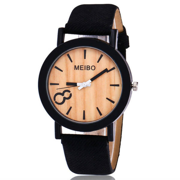 MEIBO divatos karóra, famintás számlappal, fekete szíjjal