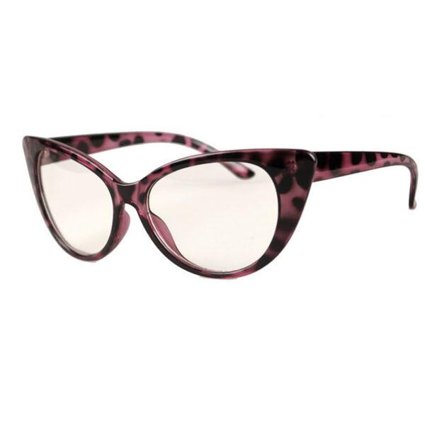 Átlátszó lencsés, cicás divat szemüveg, leopárd