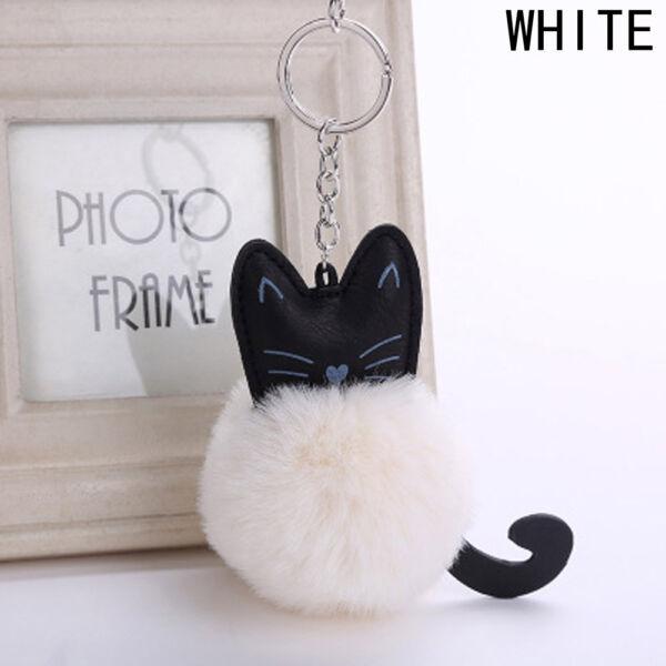 Bolyhos cica műszőrme pompom/kulcstartó, fehér