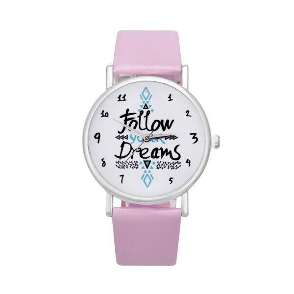 """Női motivációs óra,  """"Follow your Dreams"""" felirattal, rózsaszín szíjjal"""