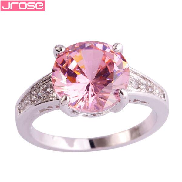 Maria King ezüstözött gyűrű rózsaszín cirkónium kristállyal, több méretben