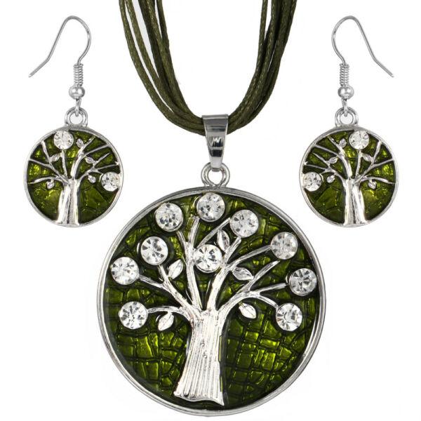 Élet fája motívumos medál bőr nyaklánccal és fülbevalóval