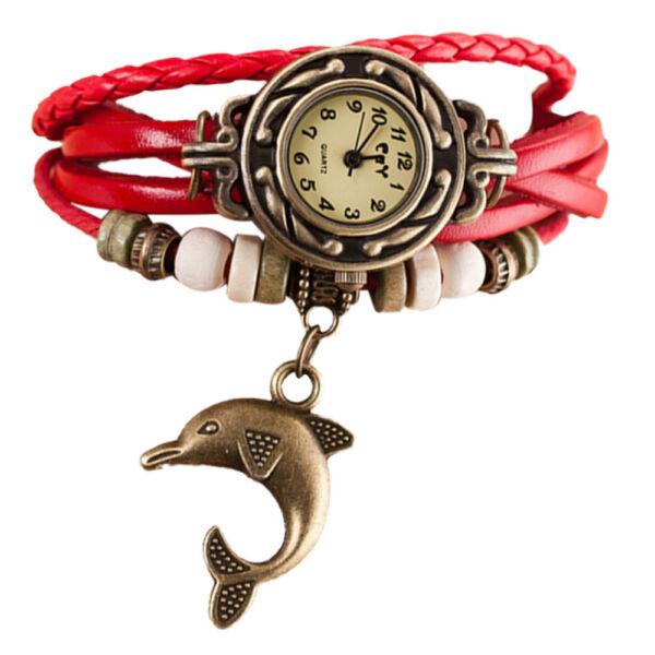 Divatos, több szíjas vintage női karóra delfinnel piros szíjjal