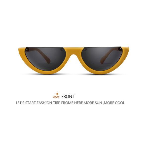 Extravagáns félkeretes napszemüveg, ultratrendi, sárga