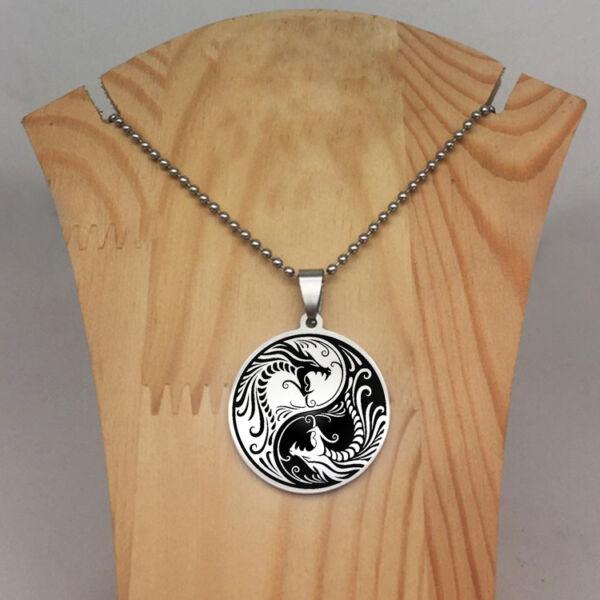 Sárkány motívumos yin yang medál nyaklánccal, 50 cm