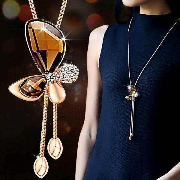 From Maria King Arany színű hosszú Statement nyaklánc csillogó pillangós medállal