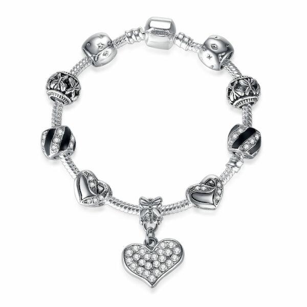 Ezüstözött Pandora stílusú Charm karkötő, fekete zománccal és kristály szív charm-mal, 20 cm