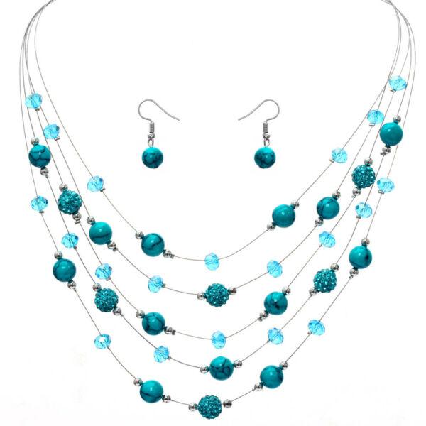 From Maria King Türkiz bohém gyöngy nyaklánc és fülbevaló szett