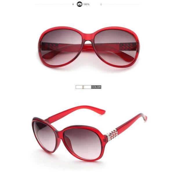 Divatos női napszemüveg, oldalán ezüstös dísszel, piros