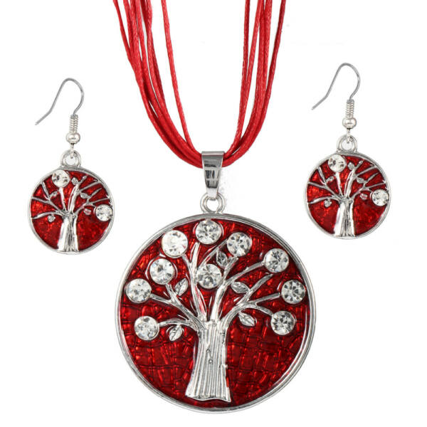 Élet fája motívumos medál bőr nyaklánccal és fülbevalóval, piros