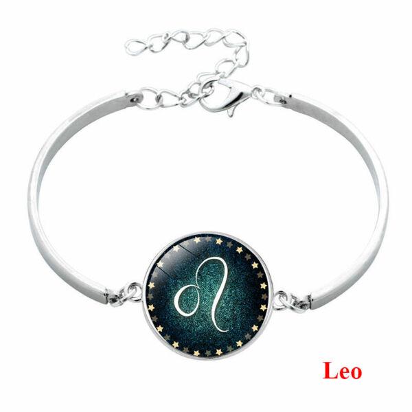 Csillagjegy karkötő, szép zöld medállal, oroszlán (Leo)